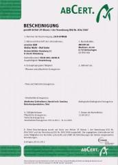 Aktuelles Bio Zertifikat