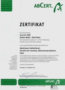 Ecocion Zertifikat 2011
